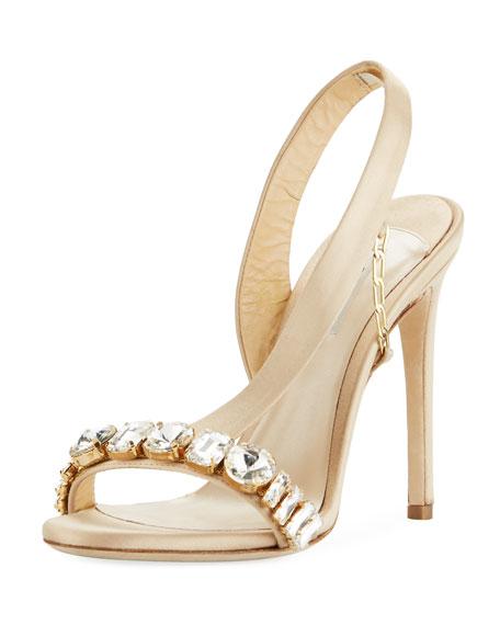 Amazone Jeweled Asymmetric Slingback Sandal