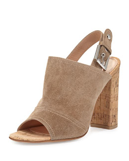 Marcy Suede Slingback Sandal, Bisque
