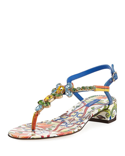 Maiolica Tile-Print Jeweled Thong Sandal