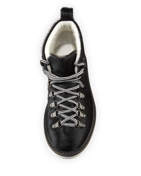 Calf Hair Lace-Up Sneaker