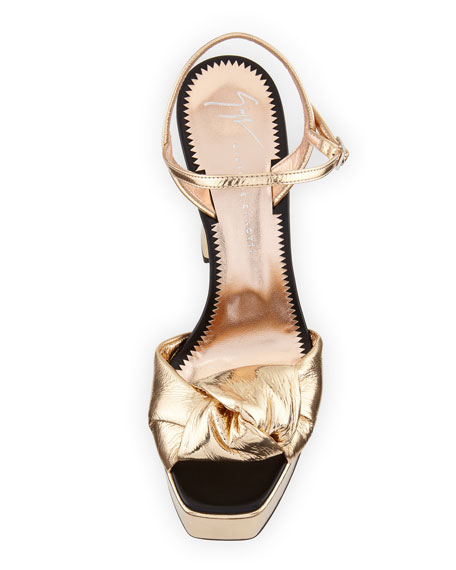 c9c51a2ee565 Giuseppe Zanotti Knotted Metallic Platform Sandal