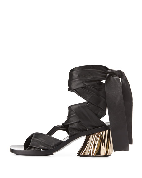 XMM Leather Ankle-Wrap Sandal, Black