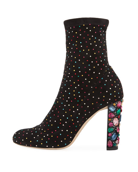 Maine Stretch Suede Crystal Embellished Bootie
