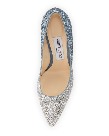 Romy 100mm Fireball Glitter Degrade Fabric Pointed-Toe Pump