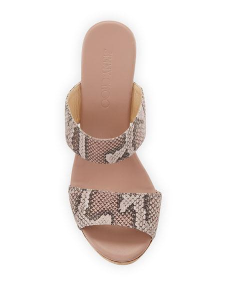 Parker Snake-Print Platform Wedge Slide Sandal