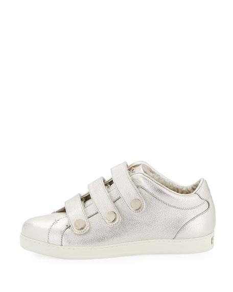 NY Metallic Leather Triple-Strap Sneaker