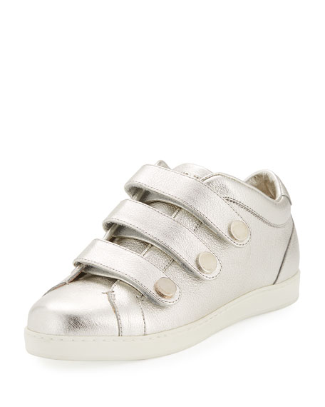 NY Metallic Leather Triple-Strap Sneakers