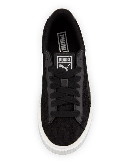 Basket Lace Platform Sneakers, Black
