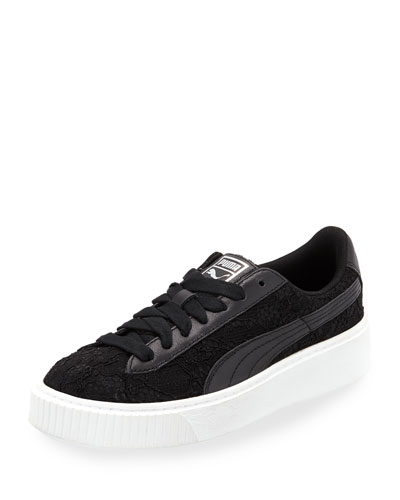Basket Lace Platform Sneaker, Black
