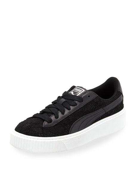 pretty nice 1646a 73383 Basket Lace Platform Sneakers Black