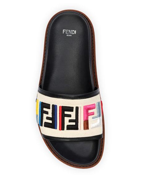 FF Logo Embroidered Flat Sandal, Multi