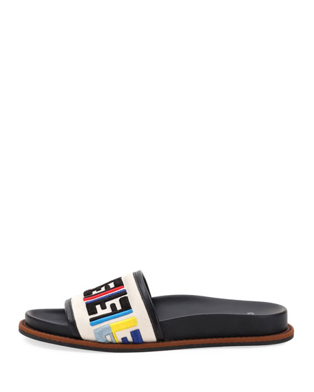Fendi FF Logo Embroidered Flat Sandal