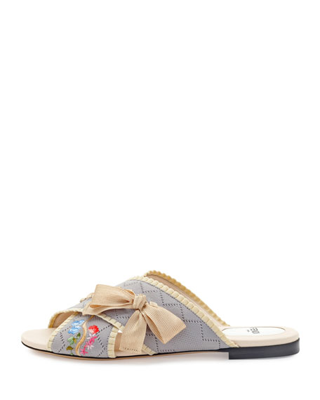 Crisscross Knit Slide Sandal