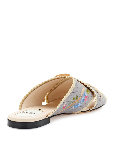 Crisscross Knit Slide Sandal