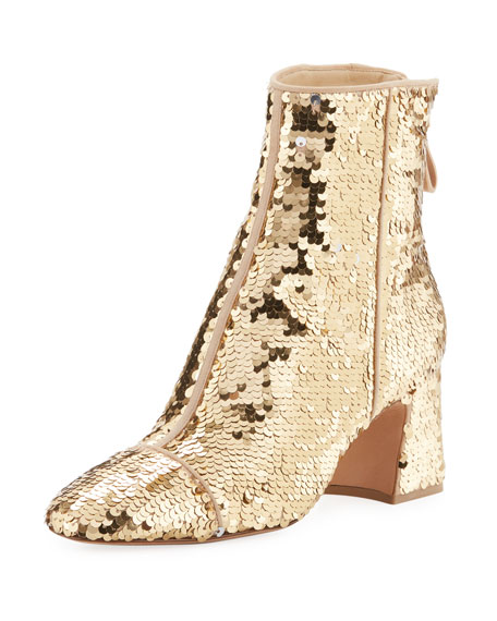 Corella Sequined Block-Heel Booties