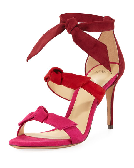 Lolita Three-Bow Ombre Suede Sandal, Red/Pink
