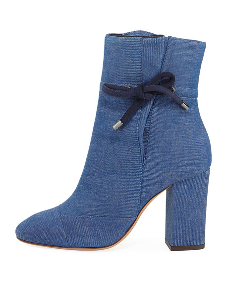 Evelinne Denim Ankle-Tie Bootie