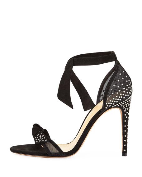 Clarita Jeweled Ankle-Tie Sandal
