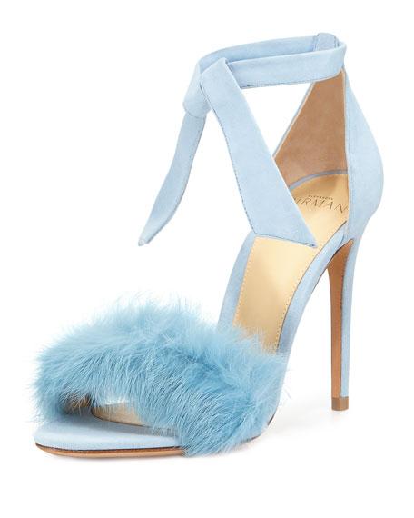 Clarita Fur-Strap Ankle-Tie Sandal