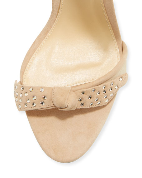Clarita Crystal-Studded Suede Sandal