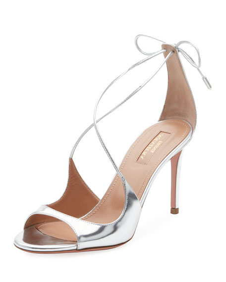 Sofia Metallic Ankle-Tie Sandal