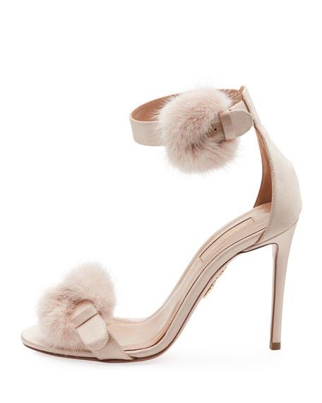 Fur-Trim Satin d'Orsay Sandal