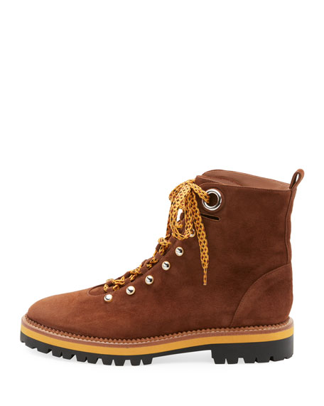 Flat Suede Lace-Up Hiker Boot