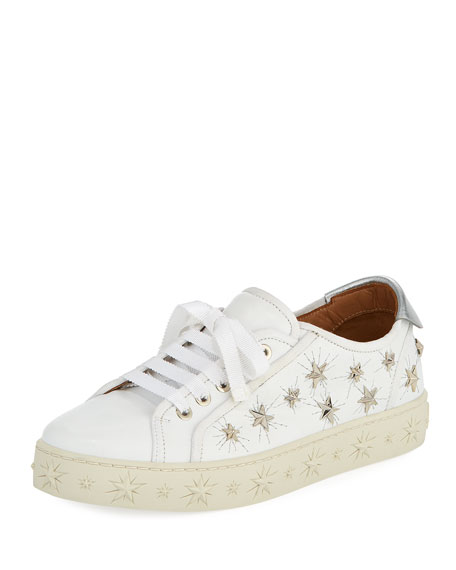 Cosmic Star-Stud Leather Low-Top Sneaker