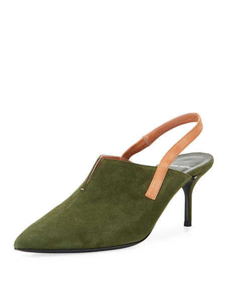 Point-Toe Suede Slingback Pump
