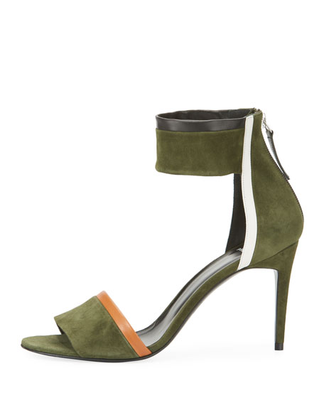 Colorblock Suede Ankle-Cuff Sandal