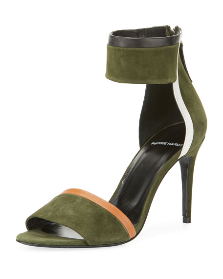 Colorblock Suede Ankle Cuff Sandal by Pierre Hardy
