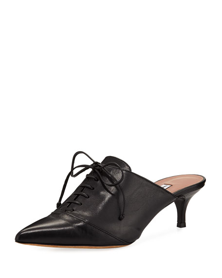 Drew Point-Toe Lace-Up Mule Pump