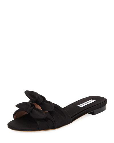Cleo Satin Bow Flat Slide Sandal
