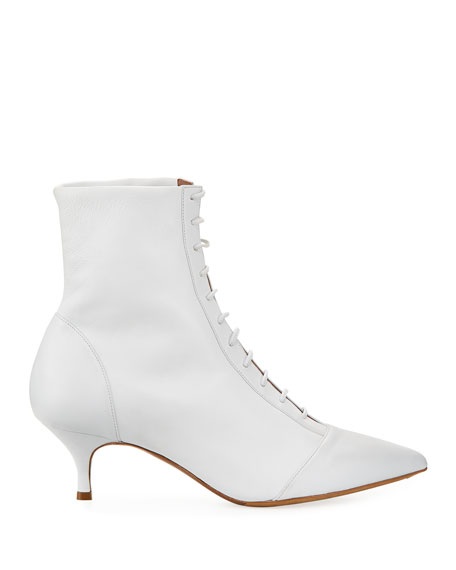 Emmet Point-Toe Lace-Up Leather Boot