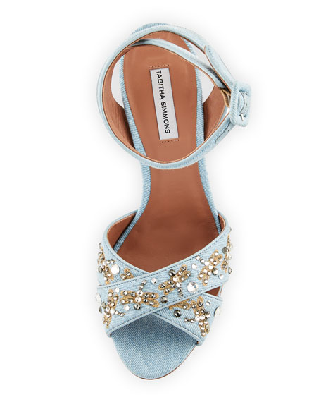 Connie Sequined Denim Ankle-Strap Sandal