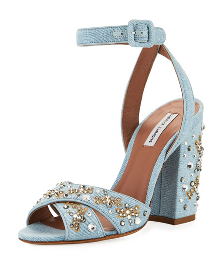 Connie Sequined Denim Ankle Strap Sandal by Tabitha Simmons
