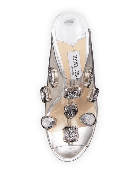 Ling Jeweled Plexi Slide Sandal with Rope Heel