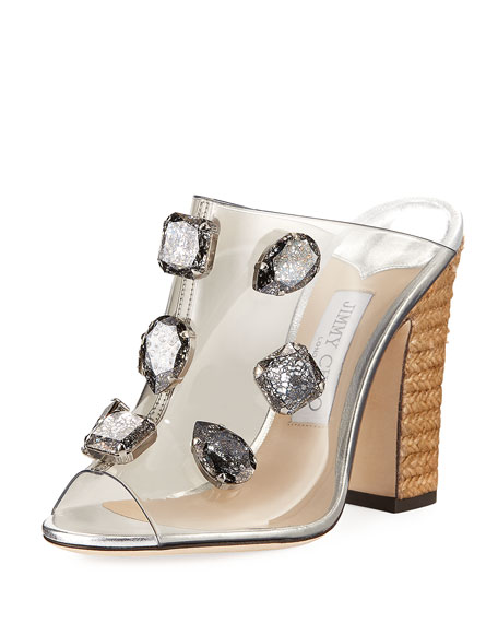 Ling Jeweled Plexi Slide Sandal With Rope Heel by Jimmy Choo