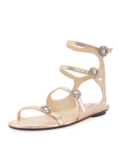 Naia Metallic Flat Sandal with Crystal Buckles, Rose Gold