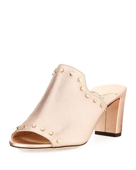 Myla Studded Metallic Leather Slide Sandal