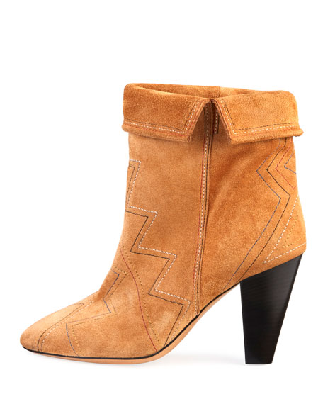 Darilay Zigzag-Stitched Suede Boots