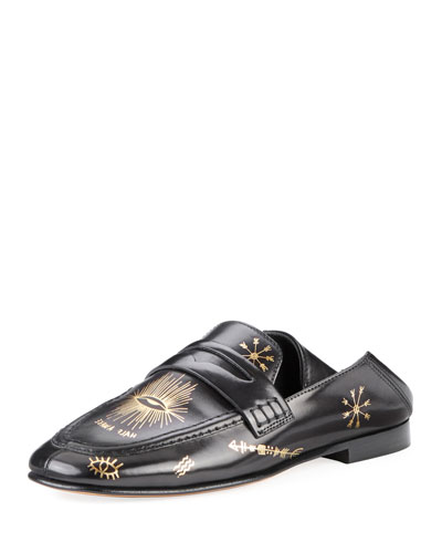 Fezzy Icon-Print Leather Loafer Mule