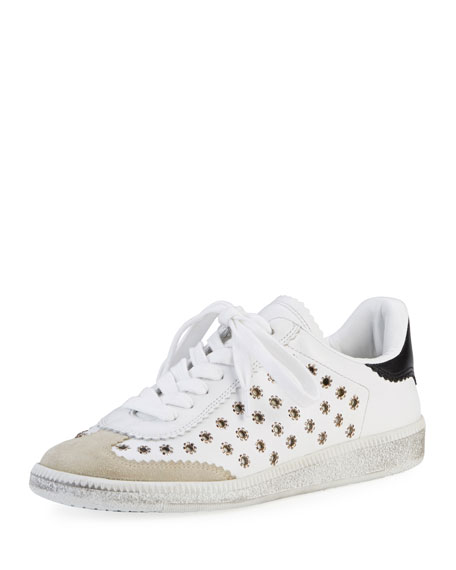 BRYCE LEATHER TRAINERS, SIZE FR41, WOMEN, WHITE