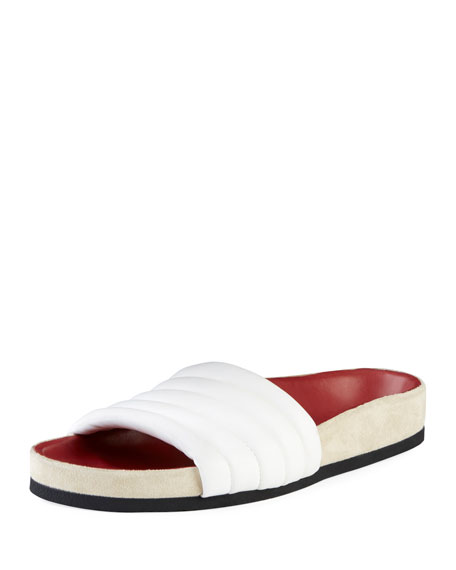 20Mm Hellea Padded Leather Slide Flats in White 20Wh