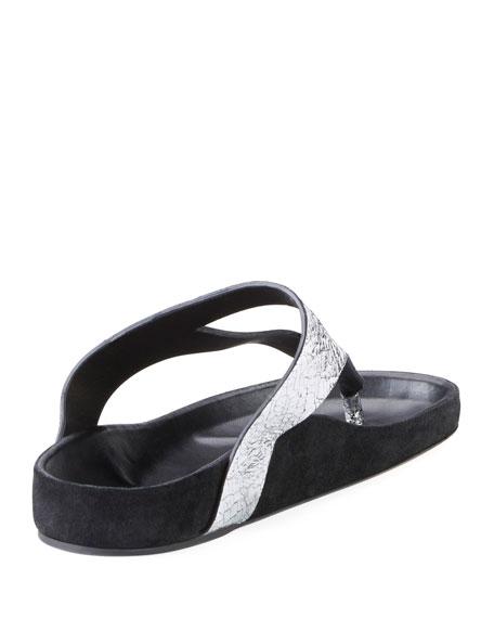 Elbry Metallic Leather Thong Sandal