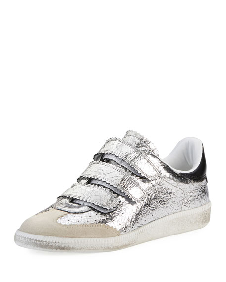 BETH BASKET SILVER LEATHER SNEAKERS