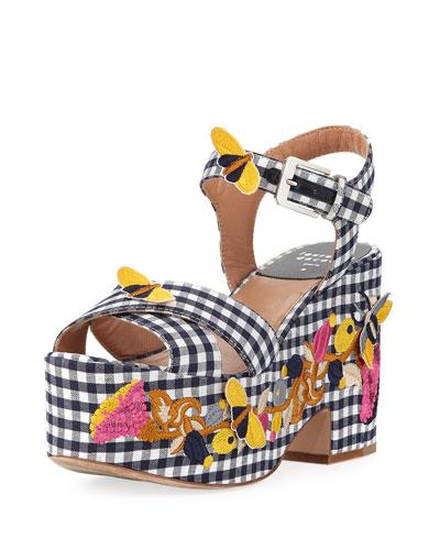 Helissa Embroidered Gingham Platform Sandal