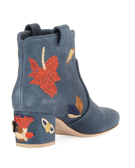 Belen Butterfly-Embroidered Western Bootie