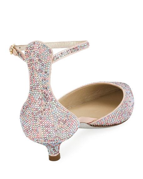Crystal-Embellished d'Orsay Kitten-Heel Pump