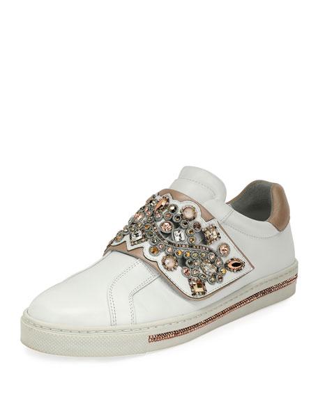 Crystal-Embellished Grip-Strap Sneaker